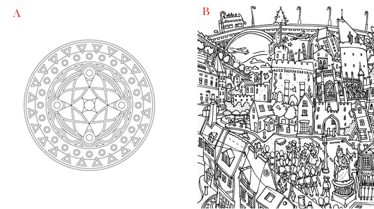 Mandala Coloring Versus Normal
