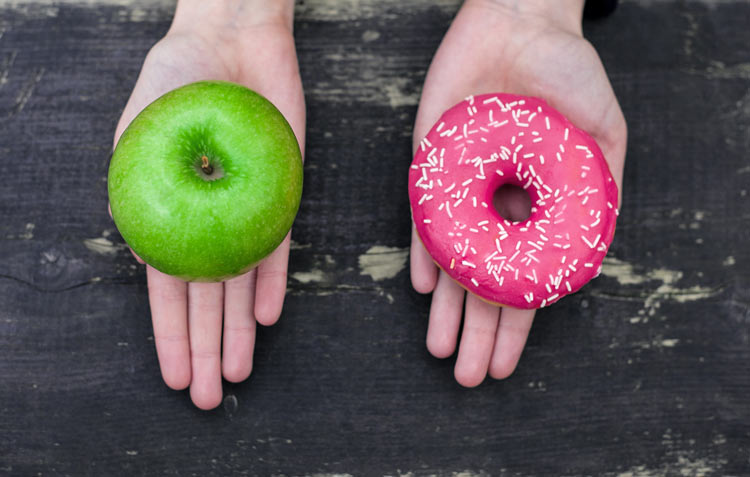 apple versus doughnut willpower test