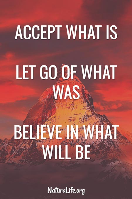 """""""Accept What is. Let go of what was. Believe in what will be. """" Motivational quote."""