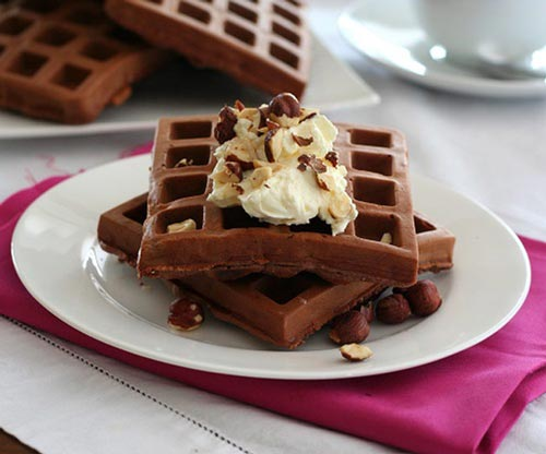 Gluten-free chocolate hazelnute protein waffles