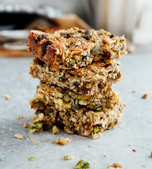 paleo breakfast bars with dried fruit nuts and seeds