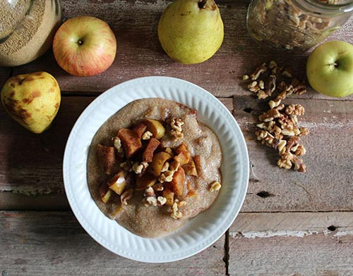 healthy apple amaranth breakfast porridge recipe